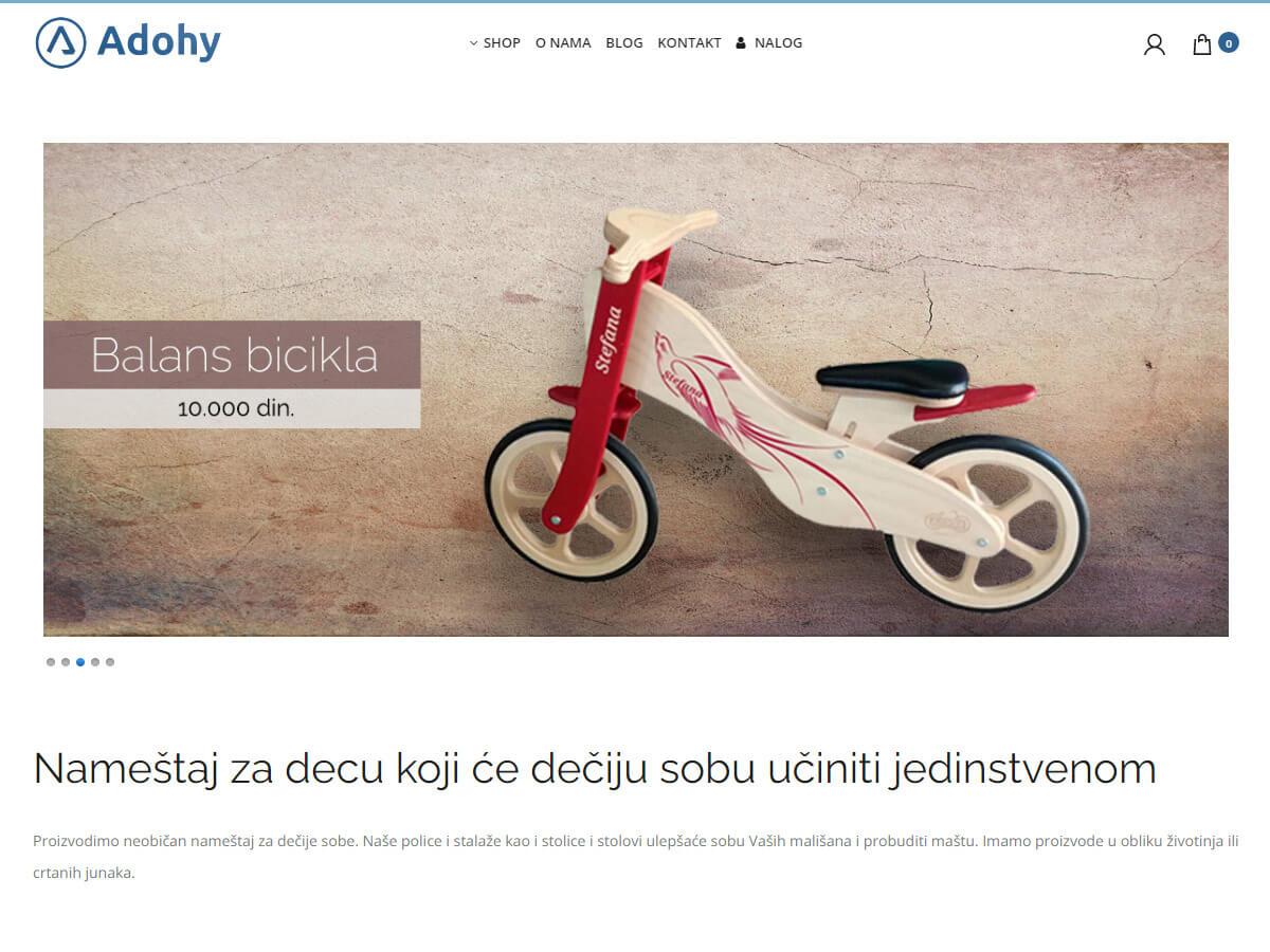 Web design za web shop Adohy